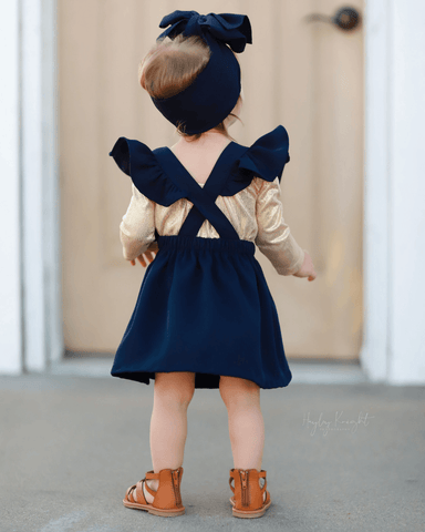 Ruffle Back Suspender Dress~ Navy
