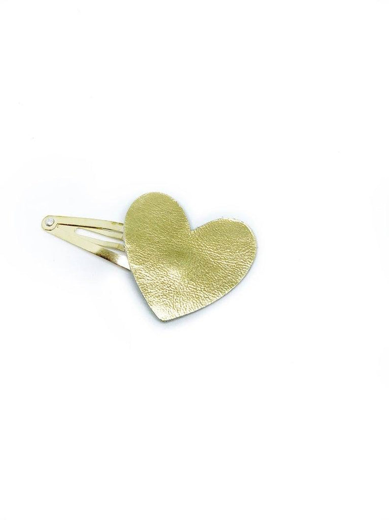 Gold Leather Heart Clip