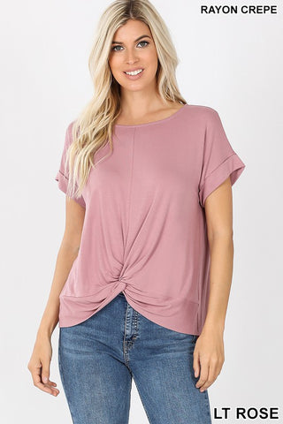 Lt. Rose Knot Front Top- 1X-3X Only