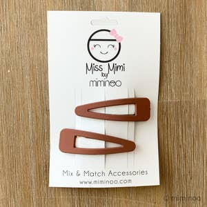 Hair Snap Clips Matte Finish set of 2 Terracotta