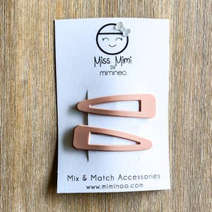 Hair Snap Clips Matte Finish set of 2 Nude