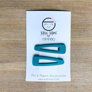 Hair Snap Clips Matte Finish set of 2 Duck Green