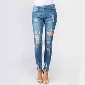 Distressed Raw Hem Skinny Jeans