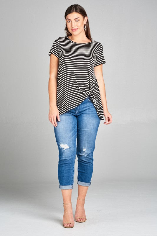 Black & White Striped Short Sleeve Twist Front Top