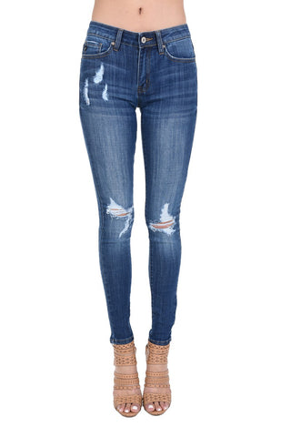 The Go-To Basic Distressed Denim Skinny Jean