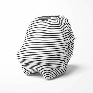 Multi use baby cover - Black/White Stripes