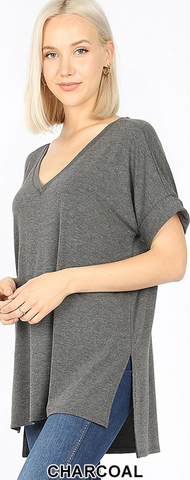 The Favorite Vneck Tee in Charcoal