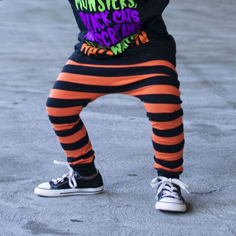 Orange & Black Stripe Halloween Harem Pants
