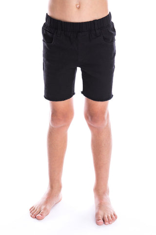 Black Denim Jeg Shorts