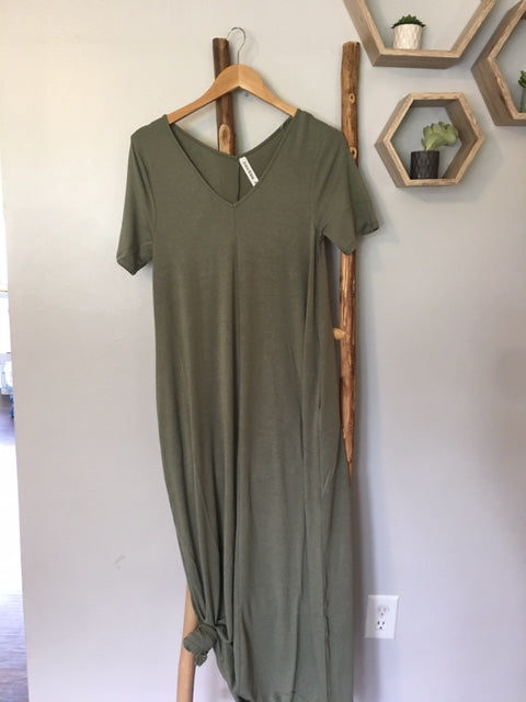 Vneck Maxi in Light Olive~ S-3X