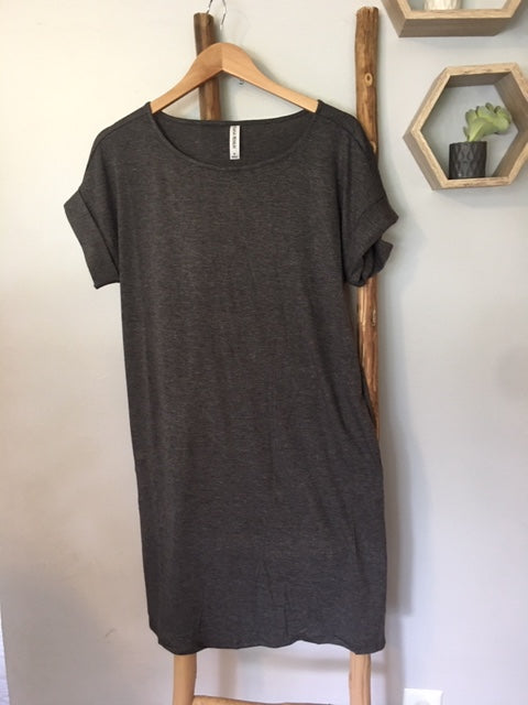 Rolled Sleeve Dress in Charcoal
