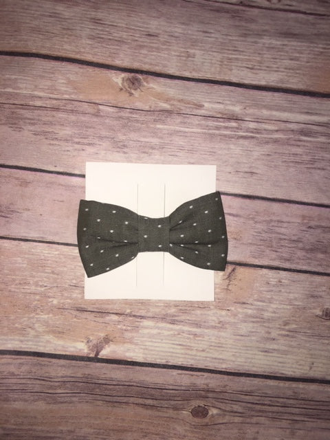 Green Olive Chambray Dot Bowtie