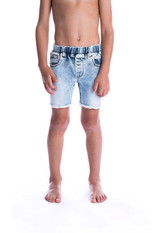 Blue Denim Jeg Shorts