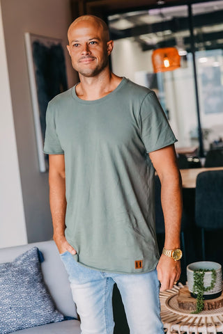 Men's Military Green Raw Edge Tee