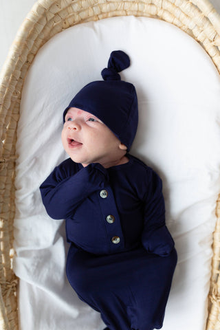 Newborn Gown + Hat Set in Navy