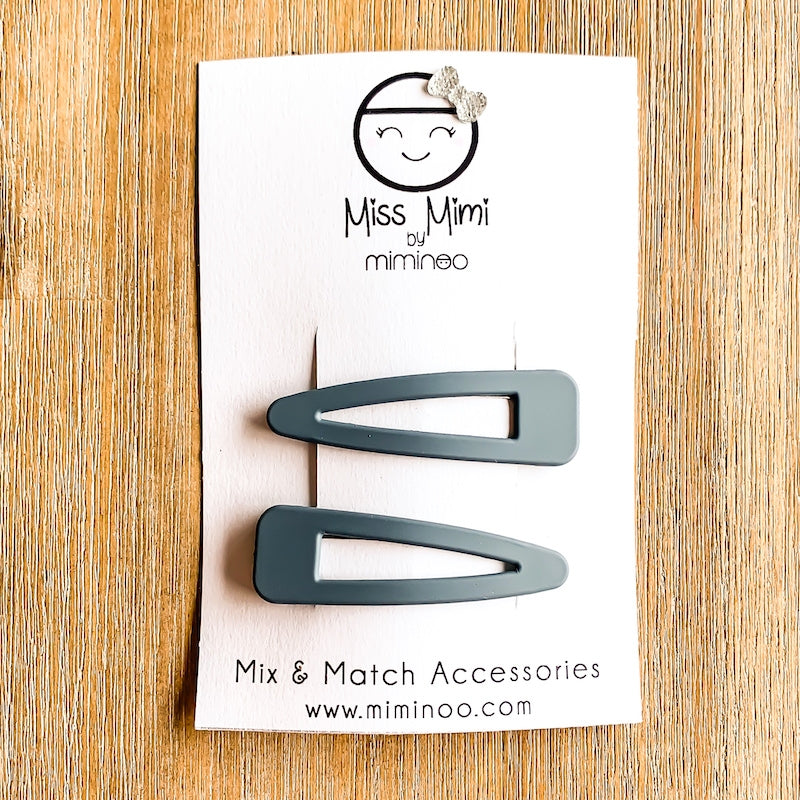 Hair Snap Clips Matte Finish set of 2 Gray
