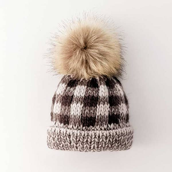 Gray Buffalo Plaid Pom Beanie