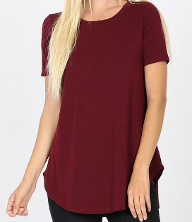 The Favorite Round Hem Tee in Burgundy