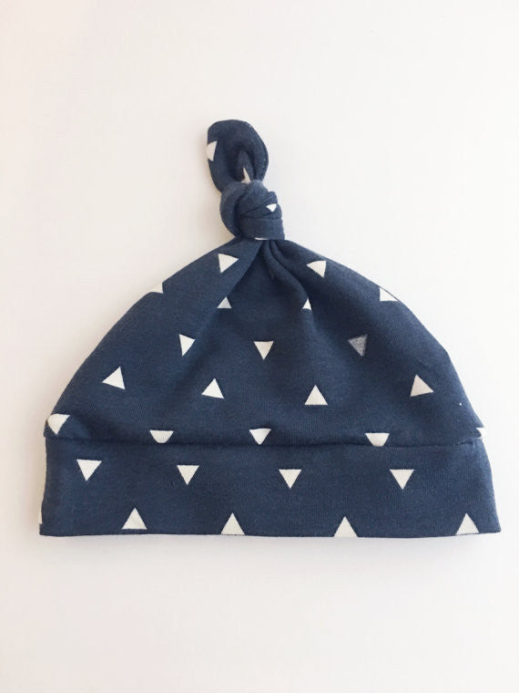 Navy with Triangles Newborn Knot Hat