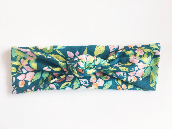 Dark Teal Floral Top Knot Turban Headband