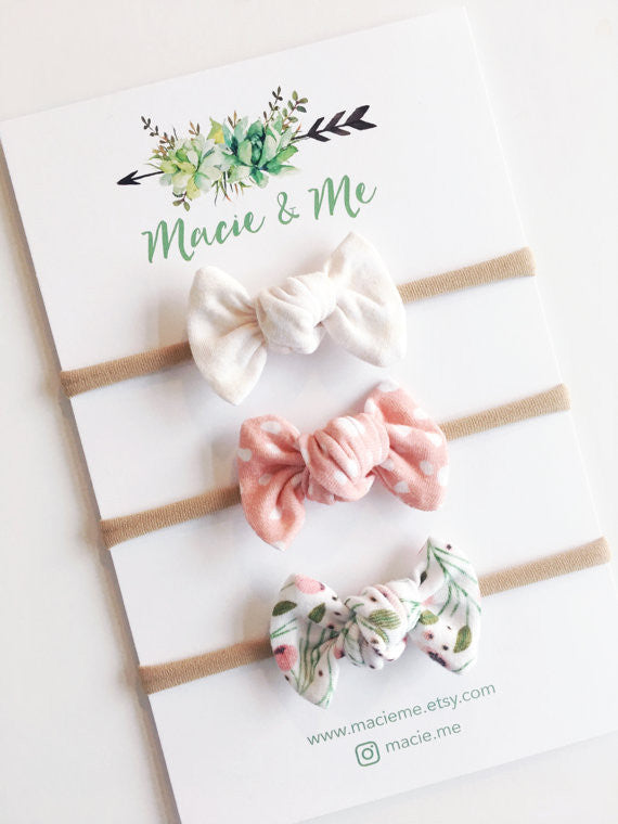 Spring Bow Nylon Headband Set of Three