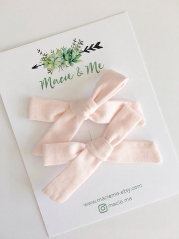 Blush Pink Bow Nylon Headband or Clip