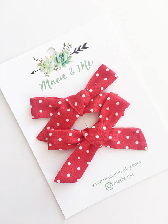 Red Polka Dot Bow Nylon Headband