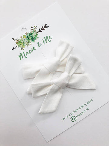 White Bow Nylon Headband Or Clip