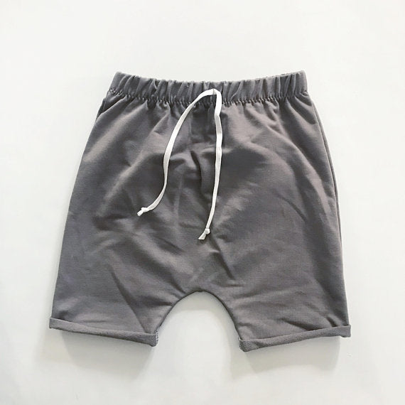 Bamboo Terry Harem Shorts with Faux Drawstring in Mushroom