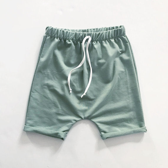 Bamboo Terry Harem Shorts with Faux Drawstring in Sage