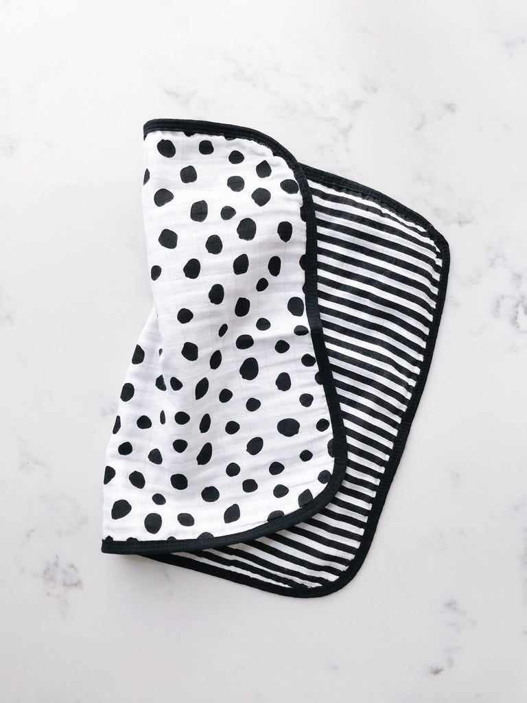 Organic Cotton Muslin Burp Cloth - REVERSIBLE Spots + Stripes