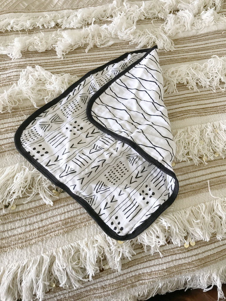 Organic Cotton Muslin Burp Cloth - REVERSIBLE Moroccan + Mud Cloth