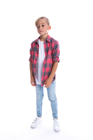 Red + Black Faded Buffalo Shirt - Kids