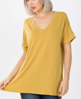The Favorite Vneck Tee in Lt Mustard