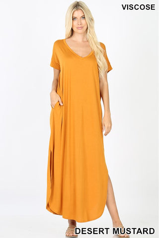 The Favorite Short Sleeve Maxi in Mustard