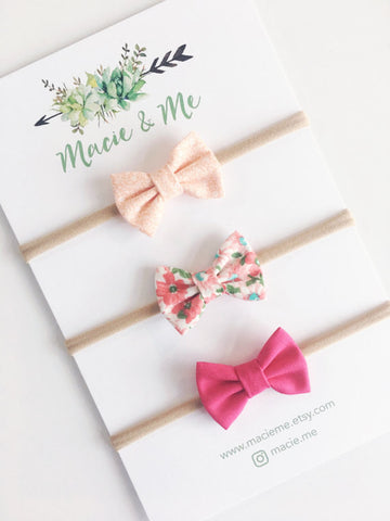 Pink and Peach Mini Bows Set of Three