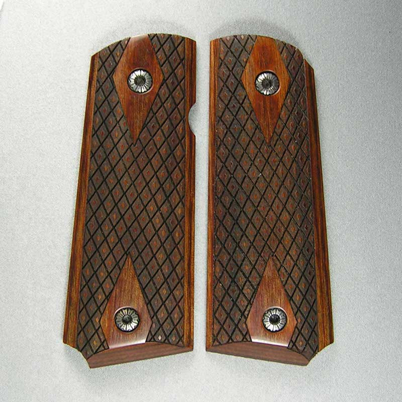 1911 Super Walnut Spanish Diamond Compact Model Checkered Pistol Grips