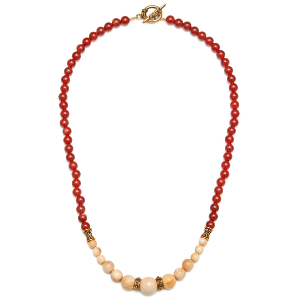 Mammoth Ivory & Carnelian Bead Necklace