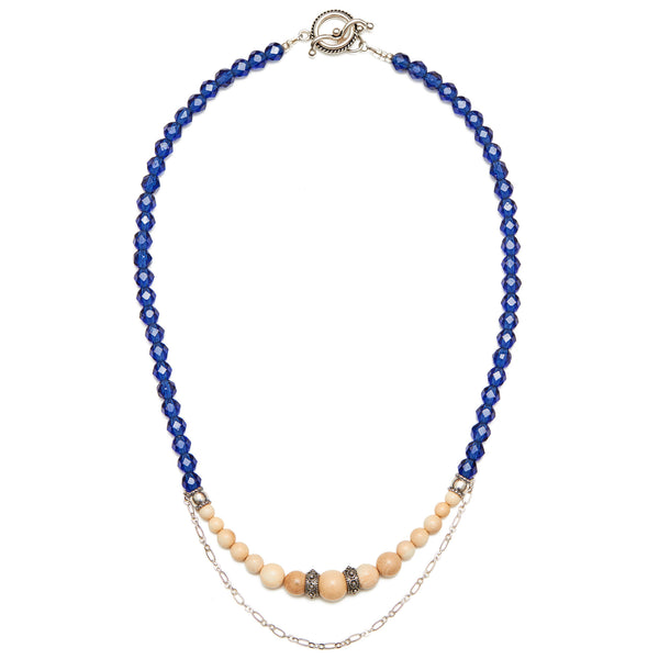 Mammoth Ivory & Indigo  Glass Bead Necklace