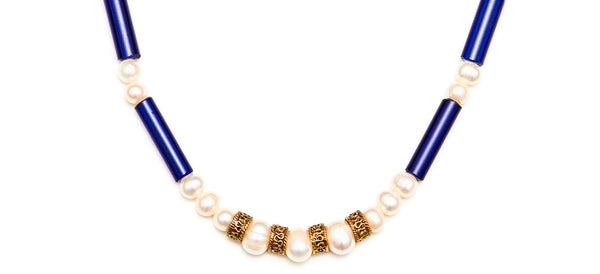 Pearl & Vintage Cobalt Blue Etruscan Style Necklace