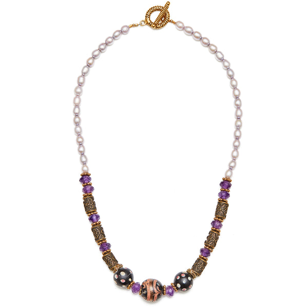 Fresh Water Pearl, Amethyst & Antique Bead Necklace