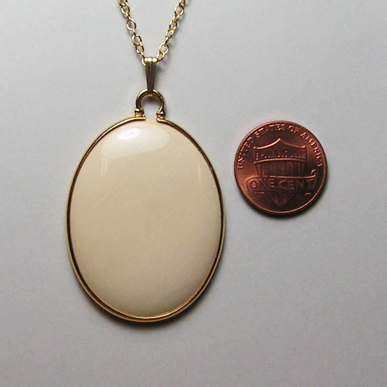 30mm x 40mm Mammoth Ivory Oval with Gold-Filled Bezel