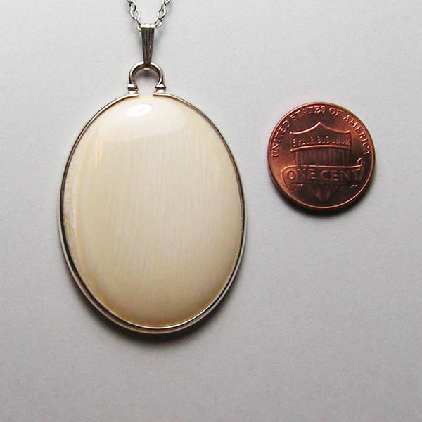 30mm x 40mm Mammoth Ivory Oval with Sterling Silver Bezel
