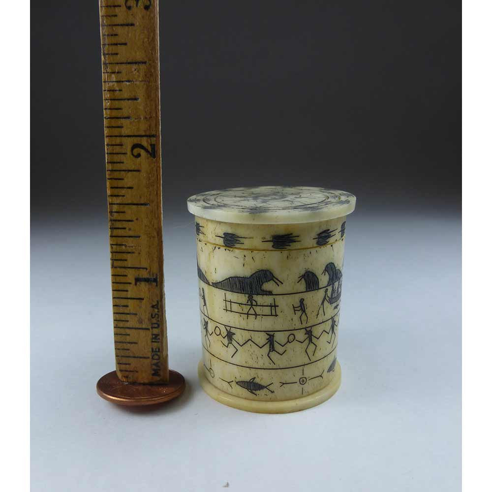 Bone Cylindrical Box with lid. Eskimo pictographs