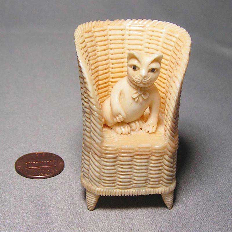 Cat in a Wicker Chair Carved Bone Box