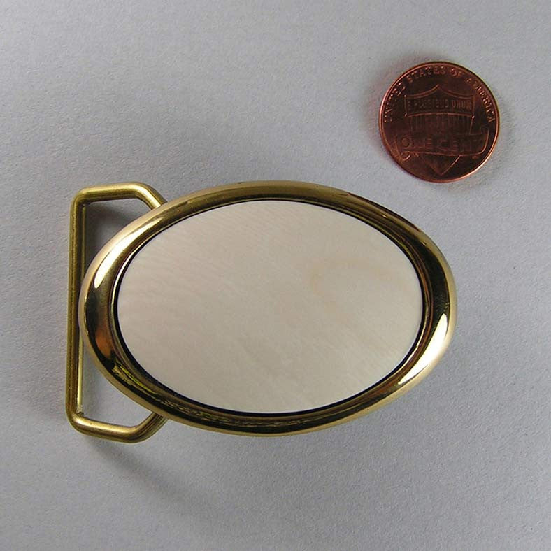 Brass Dress Belt Buckle with Domed Mammoth Ivory Insert