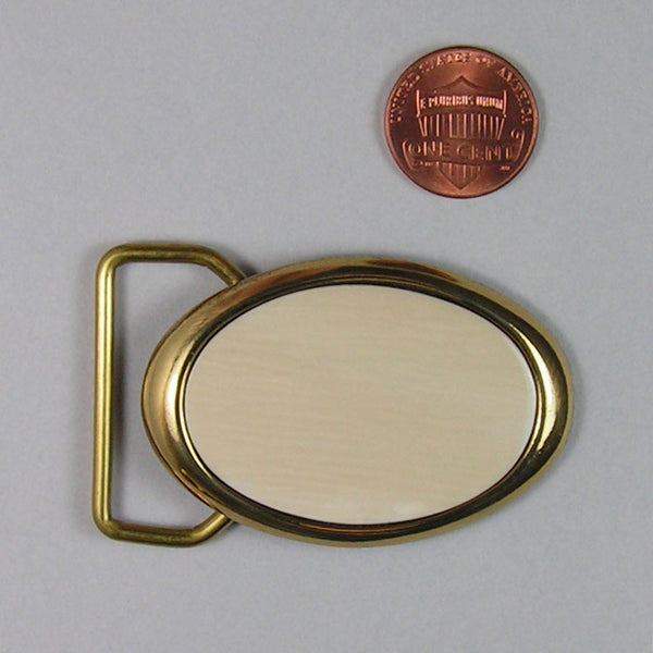 Brass Dress Belt Buckle with Flat Mammoth Ivory Insert