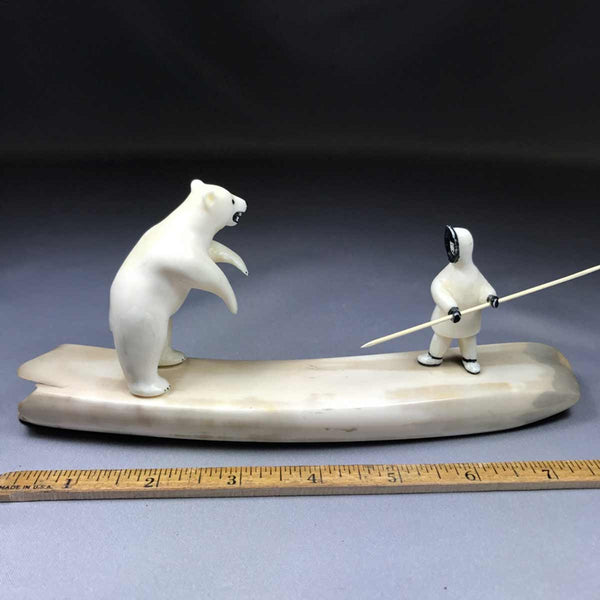 Eskimo Hunter and Bear Walrus Ivory Carving
