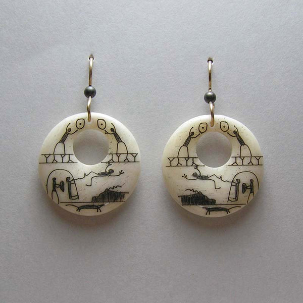 Scrimshawed Bone Hoop Earrings with Eskimo Pictographs