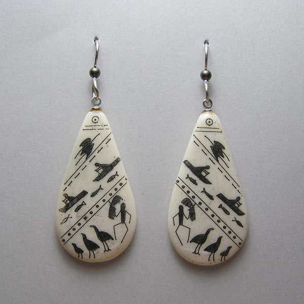 Scrimshawed Bone Teardrop Earrings with Eskimo Pictographs